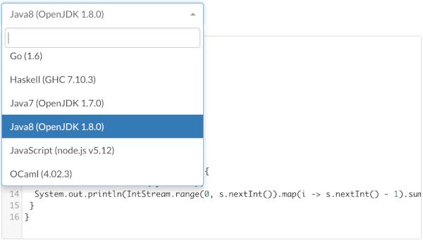 Java7とJava8が選べるsubmission画面